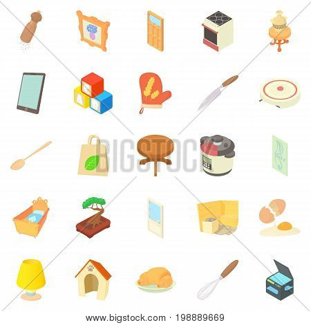 Steading icons set. Cartoon set of 25 steading vector icons for web isolated on white background
