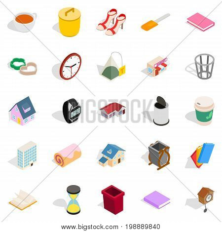 Peasant house icons set. Isometric set of 25 peasant house vector icons for web isolated on white background