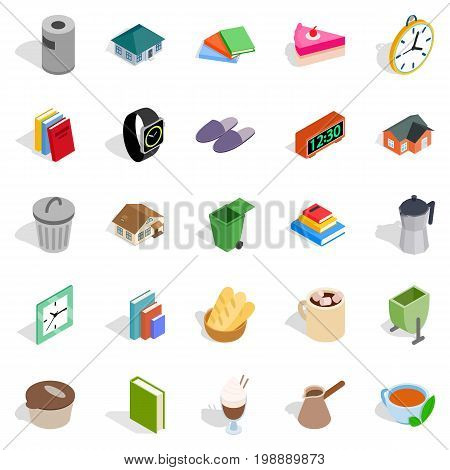 Cottage icons set. Isometric set of 25 cottage vector icons for web isolated on white background