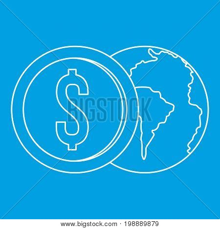 World planet and dollar coin icon blue outline style isolated vector illustration. Thin line sign