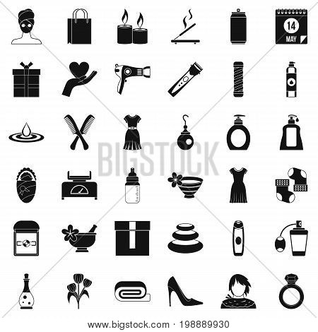 Woman thing icons set. Simple style of 36 woman thing vector icons for web isolated on white background