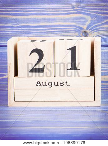 August 21Th. Date Of 21 August On Wooden Cube Calendar