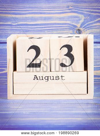 August 23Th. Date Of 23 August On Wooden Cube Calendar