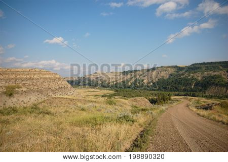 A picture of the gravel road leading downhill to the Red Deer River in Dry Island Buffalo Jump Provincial Park in Alberta, Canada.