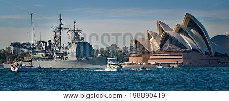 SYDNEY AUSTRALIA - October 6th. 2013: Warship USS Chosen at Australian Navy Centenary Celebrations. Sydney Harbour New South Wales Australia.