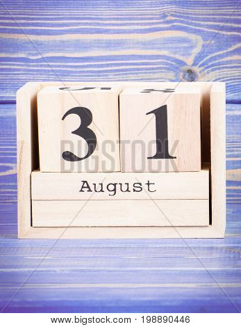 August 31Th. Date Of 31 August On Wooden Cube Calendar