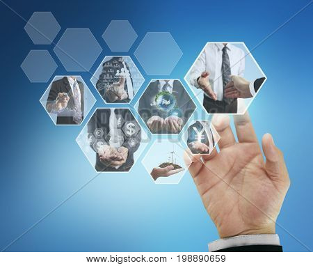 Businessman pushing internet images streaming button application on visual screen, display photos about business connection or partnership digital photo, communication, social media, financial concept
