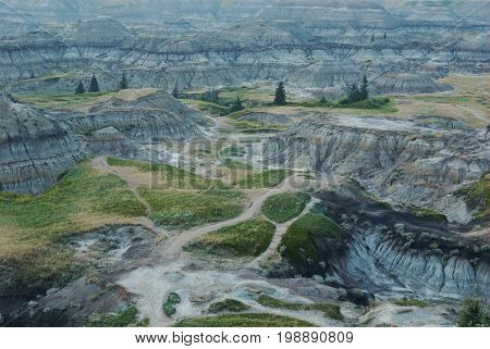A late evening picture of Horseshoe Canyon, in the badlands near Drumheller, Alberta, Canada.