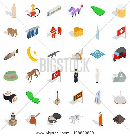 World culture icons set. Isometric style of 36 world culture vector icons for web isolated on white background