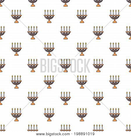 Candlelight candlestick pattern in cartoon style. Seamless pattern vector illustration
