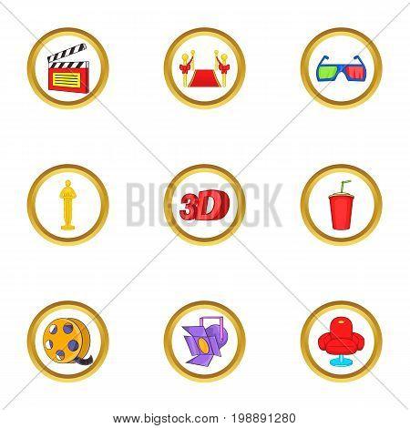Cinema icons set. Cartoon set of 9 cinema vector icons for web isolated on white background
