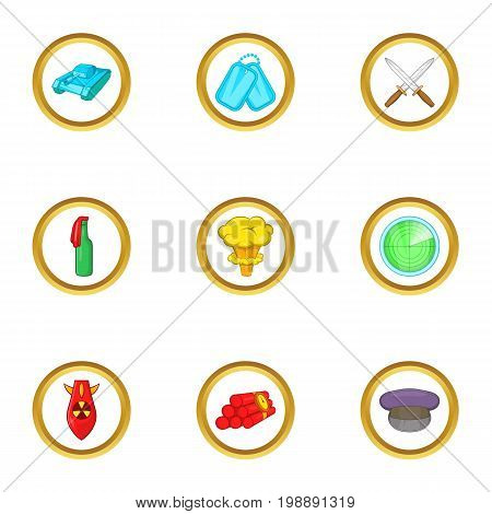 Arms icons set. Cartoon set of 9 arms vector icons for web isolated on white background