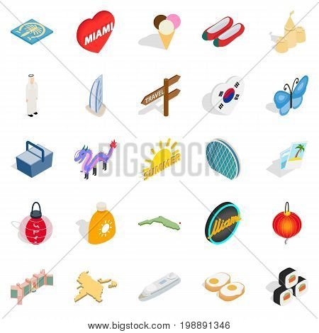 Guesthouse icons set. Isometric set of 25 guesthouse vector icons for web isolated on white background
