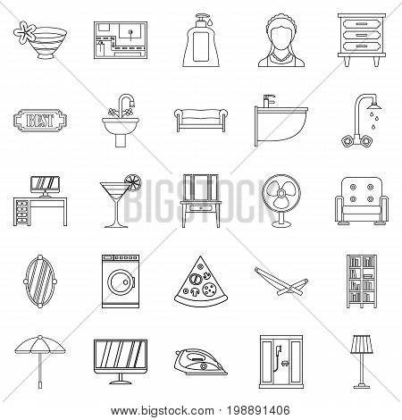 Public house icons set. Outline set of 25 public house vector icons for web isolated on white background