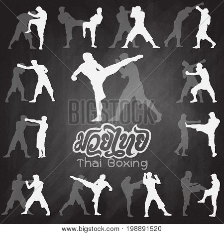 Thai Boxing. Muay Thai Martial Art Vector Illustration Collection.