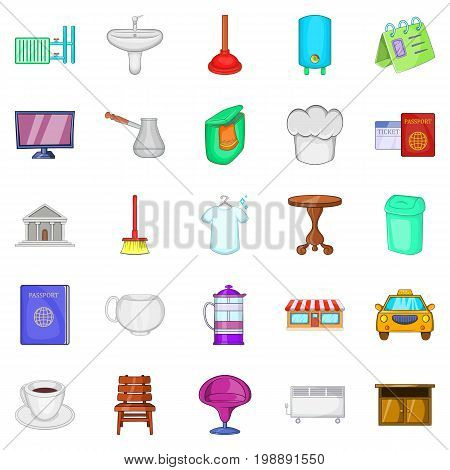 Inn icons set. Cartoon set of 25 inn vector icons for web isolated on white background