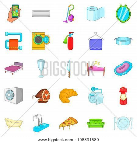 Hotel icons set. Cartoon set of 25 hotel vector icons for web isolated on white background
