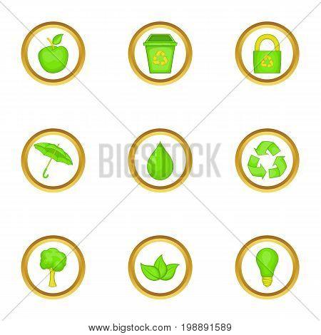 Eco icons set. Cartoon set of 9 eco vector icons for web isolated on white background