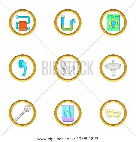 Plumbing service icons set. Cartoon set of 9 plumbing service vector icons for web isolated on white background