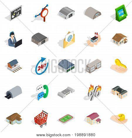 Homey icons set. Isometric set of 25 homey vector icons for web isolated on white background