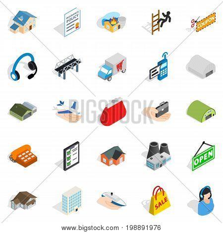 Homeward icons set. Isometric set of 25 homeward vector icons for web isolated on white background