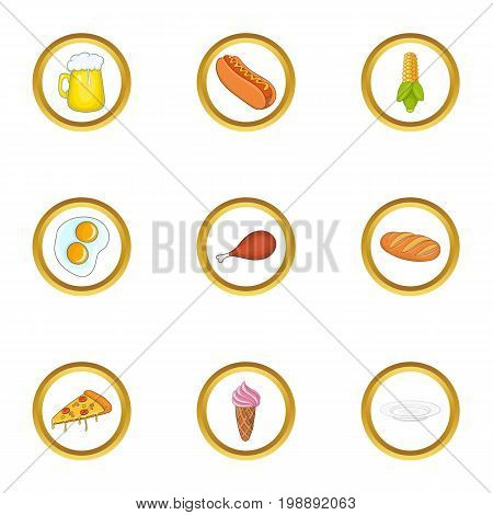 Snacks icons set. Cartoon set of 9 snacks vector icons for web isolated on white background
