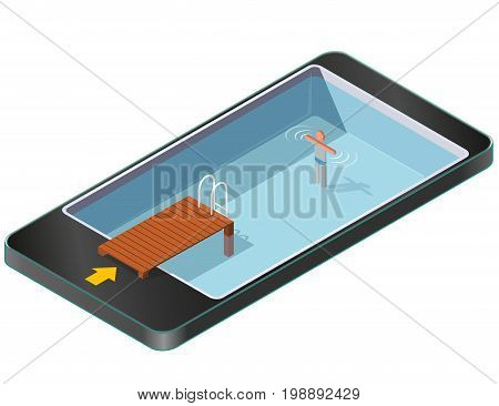 Isometric swimming pool with wooden pier in mobile phone. Sports in communication technologies, paraphrase. Pool with brown wharf, ladder steps on white background. Isolated vector illustration.