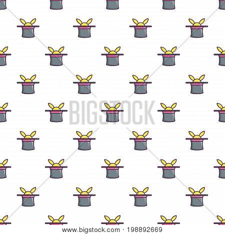 Magic hat with rabbit pattern in cartoon style. Seamless pattern vector illustration