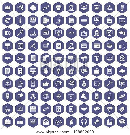 100 help desk icons set in purple hexagon isolated vector illustration