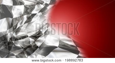 Checkered black and white flag on red background. Copy space