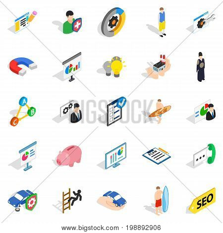 Person icons set. Isometric set of 25 person vector icons for web isolated on white background