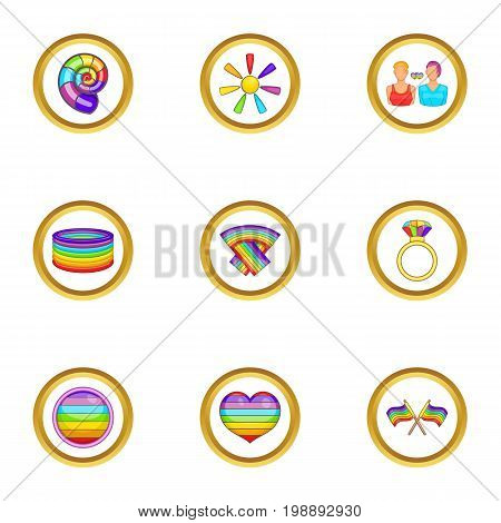 Lgbt community icons set. Cartoon set of 9 lgbt community vector icons for web isolated on white background