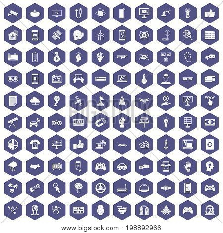 100 hi-tech icons set in purple hexagon isolated vector illustration
