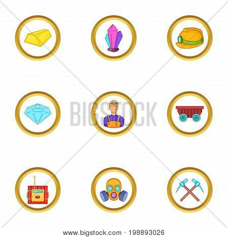 Miner work icons set. Cartoon set of 9 miner work vector icons for web isolated on white background