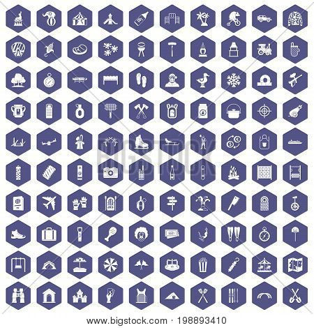 100 holidays family icons set in purple hexagon isolated vector illustration