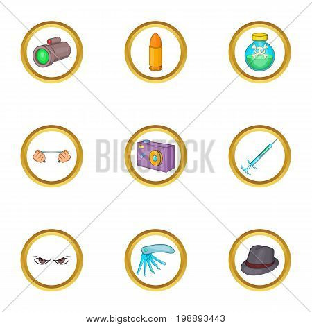 Murder equipment icons set. Cartoon set of 9 murder equipment vector icons for web isolated on white background