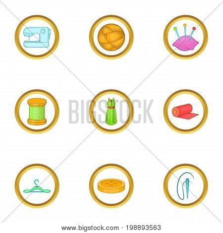 Tailor shop icons set. Cartoon set of 9 tailor shop vector icons for web isolated on white background