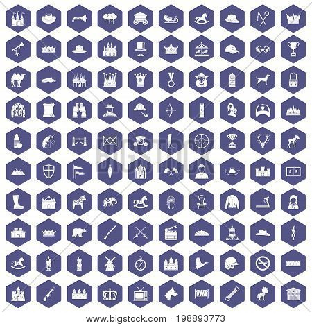 100 horsemanship icons set in purple hexagon isolated vector illustration
