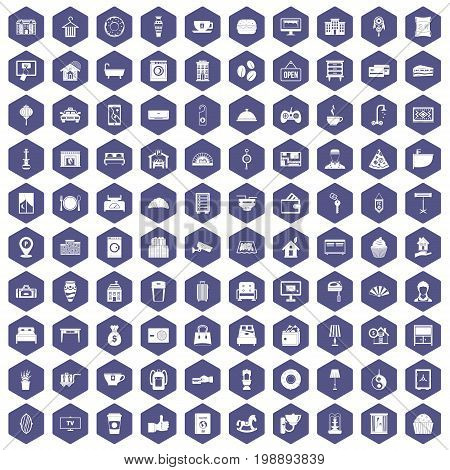 100 hotel icons set in purple hexagon isolated vector illustration