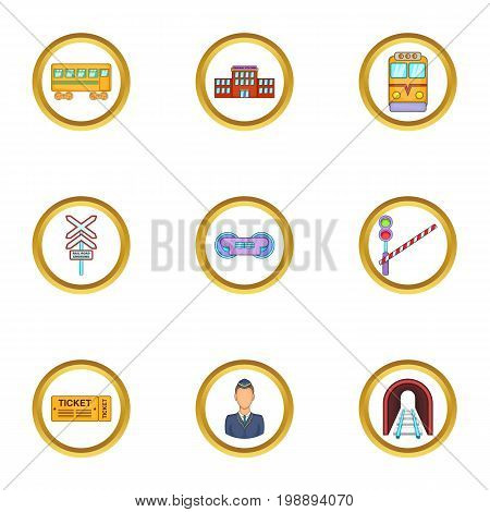 City railway icons set. Cartoon set of 9 city railway vector icons for web isolated on white background