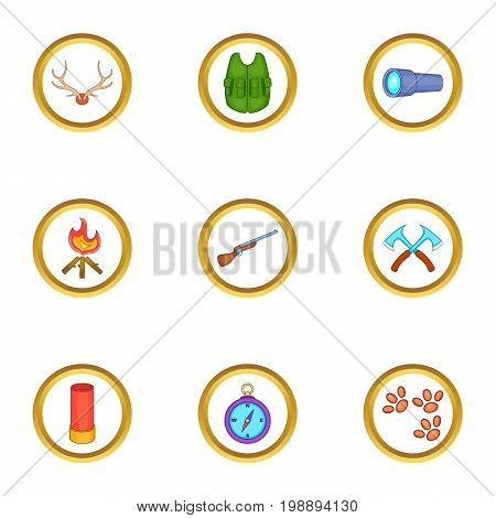 Hunter equipment icons set. Cartoon set of 9 hunter equipment vector icons for web isolated on white background
