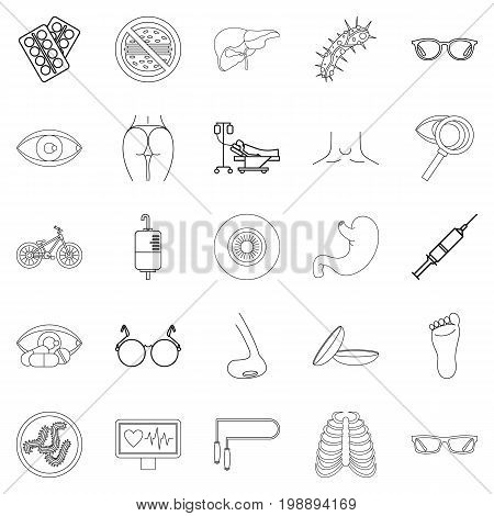 Cure oneself icons set. Outline set of 25 cure oneself vector icons for web isolated on white background