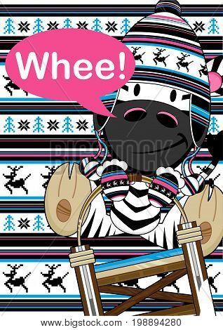 Cute Cartoon Zebra in Wooly Hat on Sledge Illustration