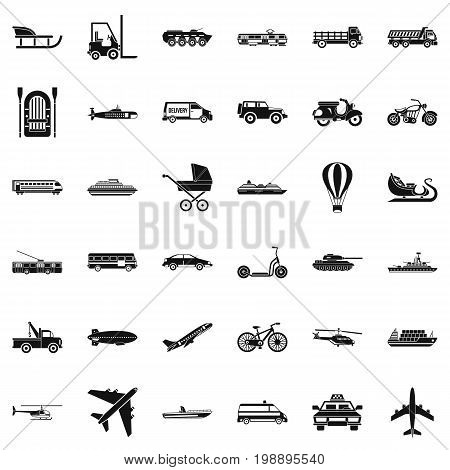 Transport with driver icons set. Simple style of 36 transport with driver vector icons for web isolated on white background