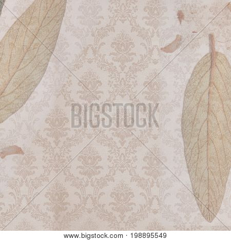 Background sepia true leaves  canvas material handmade  And 50's upholstery in the background