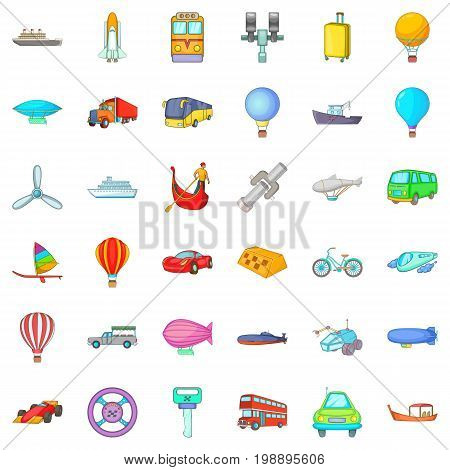 Transport with driver icons set. Catoon style of 36 transport with driver vector icons for web isolated on white background