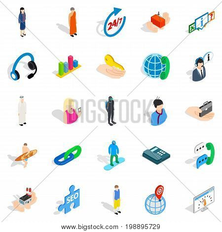 Workforce icons set. Isometric set of 25 workforce vector icons for web isolated on white background