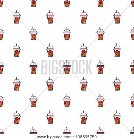 Paper cup pattern in cartoon style. Seamless pattern vector illustration