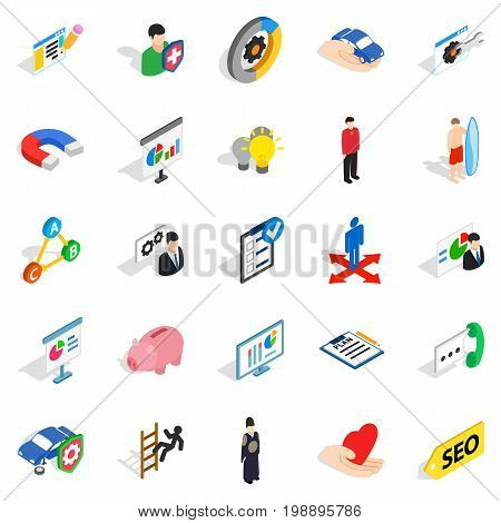 New workforce icons set. Isometric set of 25 new workforce vector icons for web isolated on white background