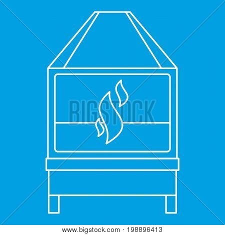 Blacksmith oven with flame fire icon blue outline style isolated vector illustration. Thin line sign